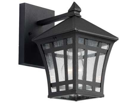 Sea Gull Lighting Herrington Black & Clear Seeded Glass 6'' Wide Outdoor Wall Light SGL8813112