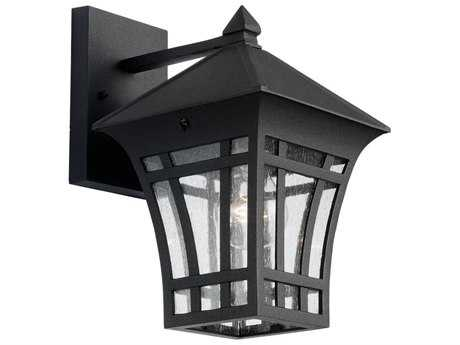 Sea Gull Lighting Herrington Black & Clear Seeded Glass 7.25'' Wide Outdoor Wall Light SGL8813212
