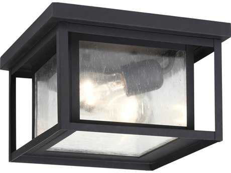 Sea Gull Lighting Hunnington Black Two-Light Outdoor Flush Mount Light SGL7802712