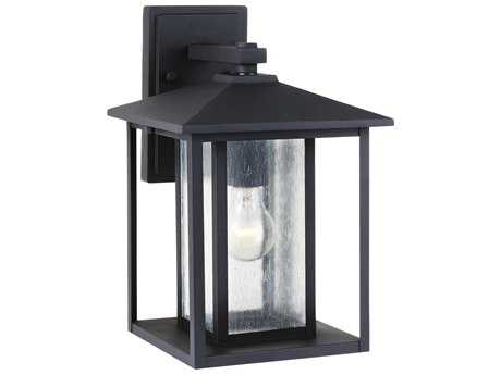 Sea Gull Lighting Hunnington Black 9'' Wide Outdoor Wall Light