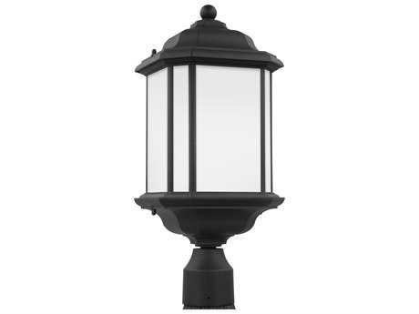 Sea Gull Lighting Kent Black 20.25'' Wide Outdoor Post Light with Satin Etched Glass SGL8252912