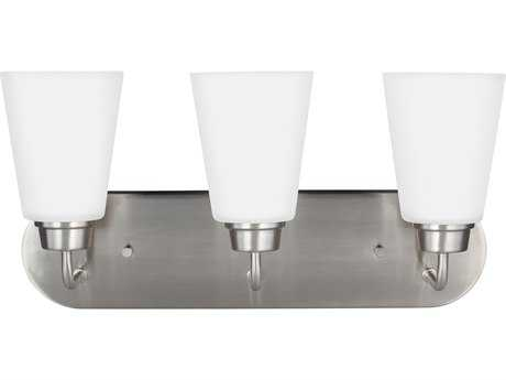 Sea Gull Lighting Kerrville Brushed Nickel Three-Light 18'' Wide Vanity Light with Satin Etched Glass SGL4415203962
