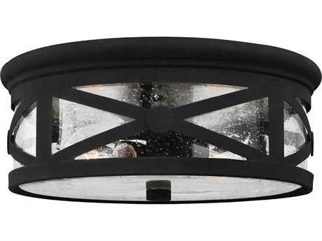 Sea Gull Lighting Lakeview Black Two-Light Outdoor Flush Mount Light SGL782140212