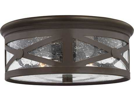 Sea Gull Lighting Lakeview Antique Bronze Two-Light Outdoor Flush Mount Light SGL782140271