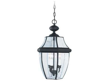 Sea Gull Lighting Lancaster Black Three-Light Outdoor Hanging Light