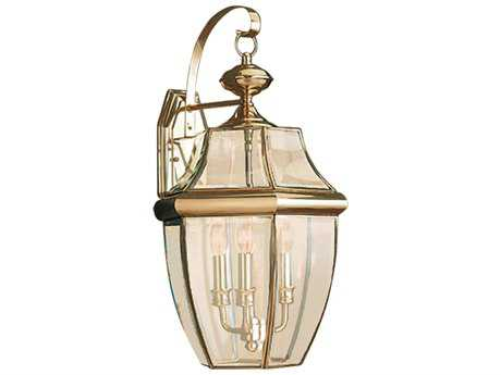 Sea Gull Lighting Lancaster Polished Brass Three-Light Outdoor Wall Light