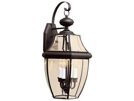 Sea Gull Lighting Lancaster Black Three-Light Outdoor Wall Light