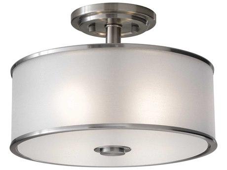 Sea Gull Lighting Casual Luxury Brushed Steel 13'' Wide Semi-Flush Mount