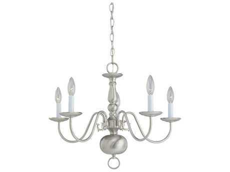 Sea Gull Lighting Traditional Brushed Nickel Five-Light 23.5'' Wide Mini-Chandelier
