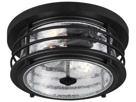 Sea Gull Lighting Sauganash Black Two-Light Outdoor Flush Mount Light SGL782440212