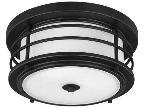 Sea Gull Lighting Sauganash Black Two-Light 5.5'' Wide Outdoor Flushmount Light with Etched Seeded Glass