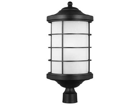 Sea Gull Lighting Sauganash Black 22.25'' Wide Outdoor Post Light with Etched Seeded Glass