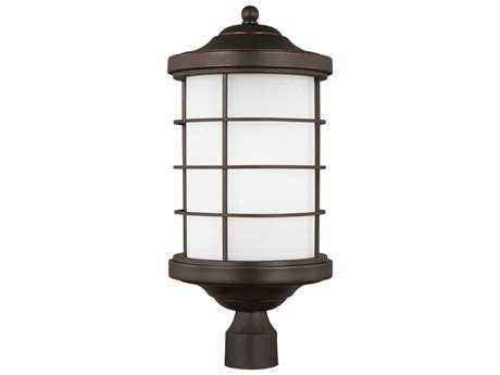 Sea Gull Lighting Sauganash Antique Bronze 22.25'' Wide Outdoor Post Light with Etched Seeded Glass