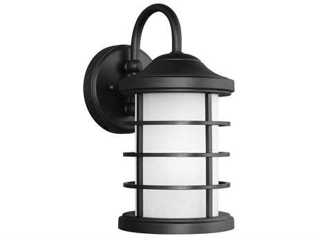 Sea Gull Lighting Sauganash Black 12.25'' Wide Outdoor Wall Sconce with Etched Seeded Glass