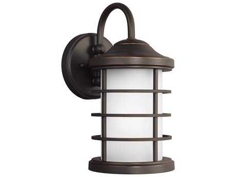 Sea Gull Lighting Sauganash Antique Bronze 12.25'' Wide Outdoor Wall Sconce with Etched Seeded Glass