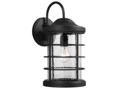 Sea Gull Lighting Sauganash Black 8.5'' Wide Outdoor Wall Light
