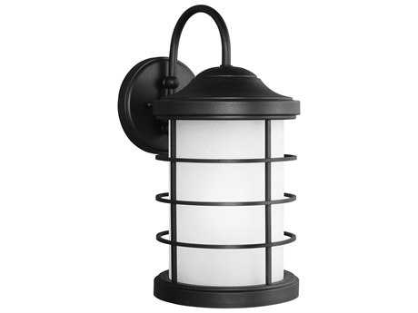 Sea Gull Lighting Sauganash Black 16.75'' Wide Outdoor Wall Sconce with Etched Seeded Glass