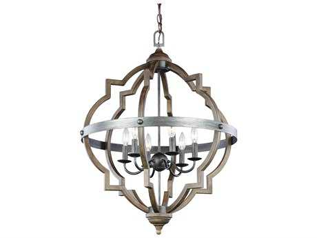 Sea Gull Lighting Socorro Stardust / Cerused Oak Six-Light 31.75'' Wide Chandelier SGL5124906846