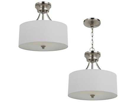 Sea Gull Lighting Stirling Brushed Nickel Two-Light 14'' Wide Convertible Pendant & Semi-Flush Mount Light SGL77952962