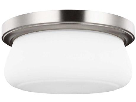 Sea Gull Lighting Vintner Satin Nickel 13'' Wide Glass LED Flush Mount Light