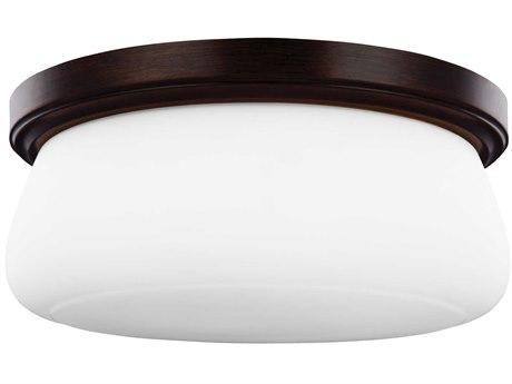 Sea Gull Lighting Vintner Heritage Bronze 14'' Wide Glass LED Flush Mount Light