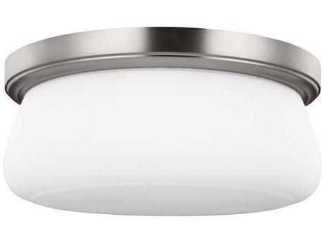 Sea Gull Lighting Vintner Satin Nickel 14'' Wide Glass LED Flush Mount Light