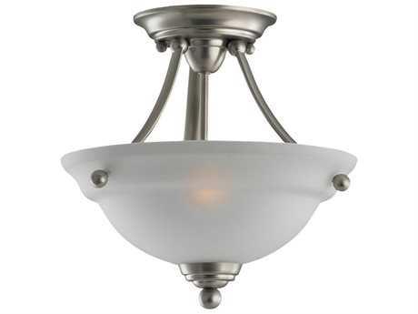 Sea Gull Lighting Wheaton Brushed Nickel Two-Light 12.5'' Wide Convertible Pendant & Semi-Flush Mount Light SGL77625962