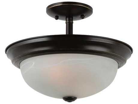 Sea Gull Lighting Windgate Heirloom Bronze Two-Light 13'' Wide Convertible Pendant & Semi-Flush Mount Light SGL77950782
