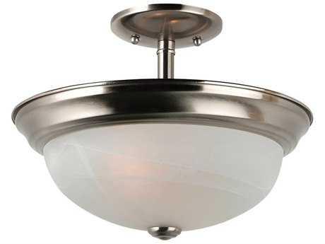 Sea Gull Lighting Windgate Brushed Nickel Two-Light 13'' Wide Convertible Pendant & Semi-Flush Mount Light SGL77950962