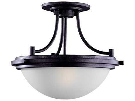 Sea Gull Lighting Winnetka Blacksmith Two-Light 14.25'' Wide Convertible Semi-Flush Mount Light SGL77660839