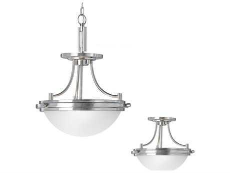 Sea Gull Lighting Winnetka Brushed Nickel Two-Light 14.25'' Wide Convertible Pendant & Semi-Flush Mount Light SGL77660962