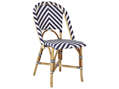 Sika Indoor Riviera Chevron Navy Blue /white Side Dining Chair