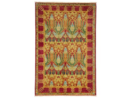 Solo Rugs Arts & Crafts Yellow 4' x 6' Rectangular Area Rug SOLM1783300