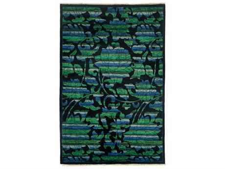 Solo Rugs Arts & Crafts Black 4'1'' x 6'3'' Rectangular Area Rug SOLM1783301