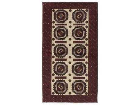 Solo Rugs Balouch Red 3'6'' x 6'2'' Rectangular Area Rug SOLM100017501