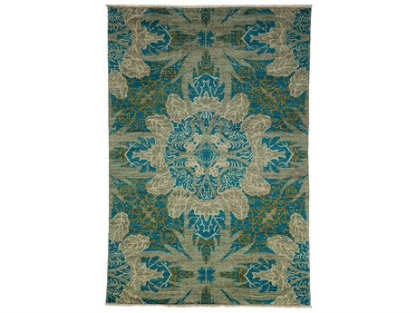 Solo Rugs Eclectic Green 4'2'' x 5'10'' Rectangular Area Rug