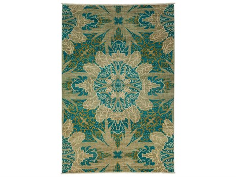 Solo Rugs Eclectic Green 6' x 9' Rectangular Area Rug
