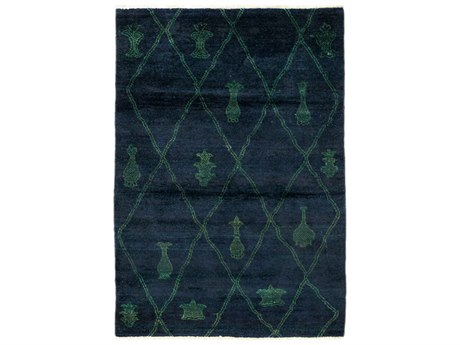Solo Rugs Moroccan Blue 3'10'' x 5'10'' Rectangular Area Rug SOLM1602466