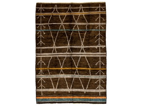 Solo Rugs Moroccan Brown 6'4'' x 8'10'' Rectangular Area Rug SOLM1590436
