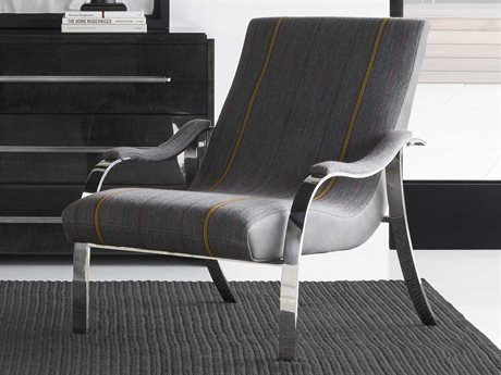 Sonder Distribution Andrew Martin Mick Charcoal / Destroyed Black Leather / Polished Stainless Steel  Accent Chair RD1502083