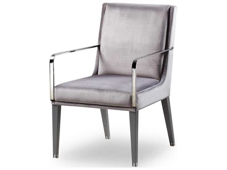 Sonder Distribution Andrew Martin Polished Stainless Steel / Grey High Gloss Lacquer Arm Dining Chair