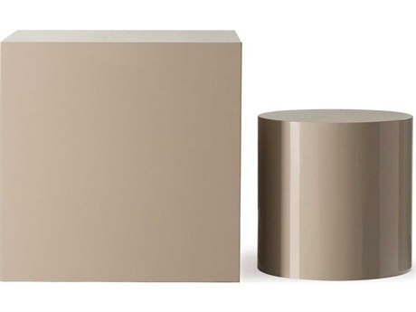 Sonder Distribution Kelly Hoppen Pebble Lacquer 17'' Wide Round Square Drum Table End RD1401027