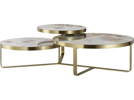 Sonder Distribution Maison 55 Tan / Gold / White Tempered Glass With Satin Brass 60'' Wide Round Coffee Table RD0801273