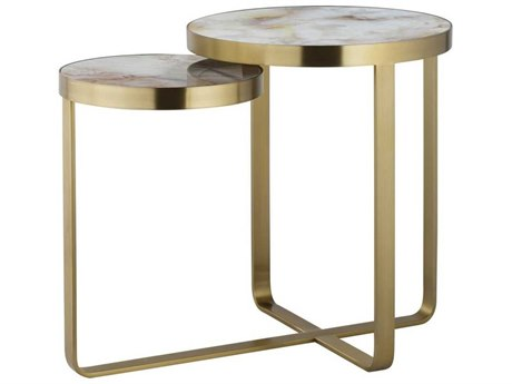 Sonder Distribution Maison 55 Tan / Gold White Tempered Glass With Satin Brass 30'' Wide Round End Table RD0801274