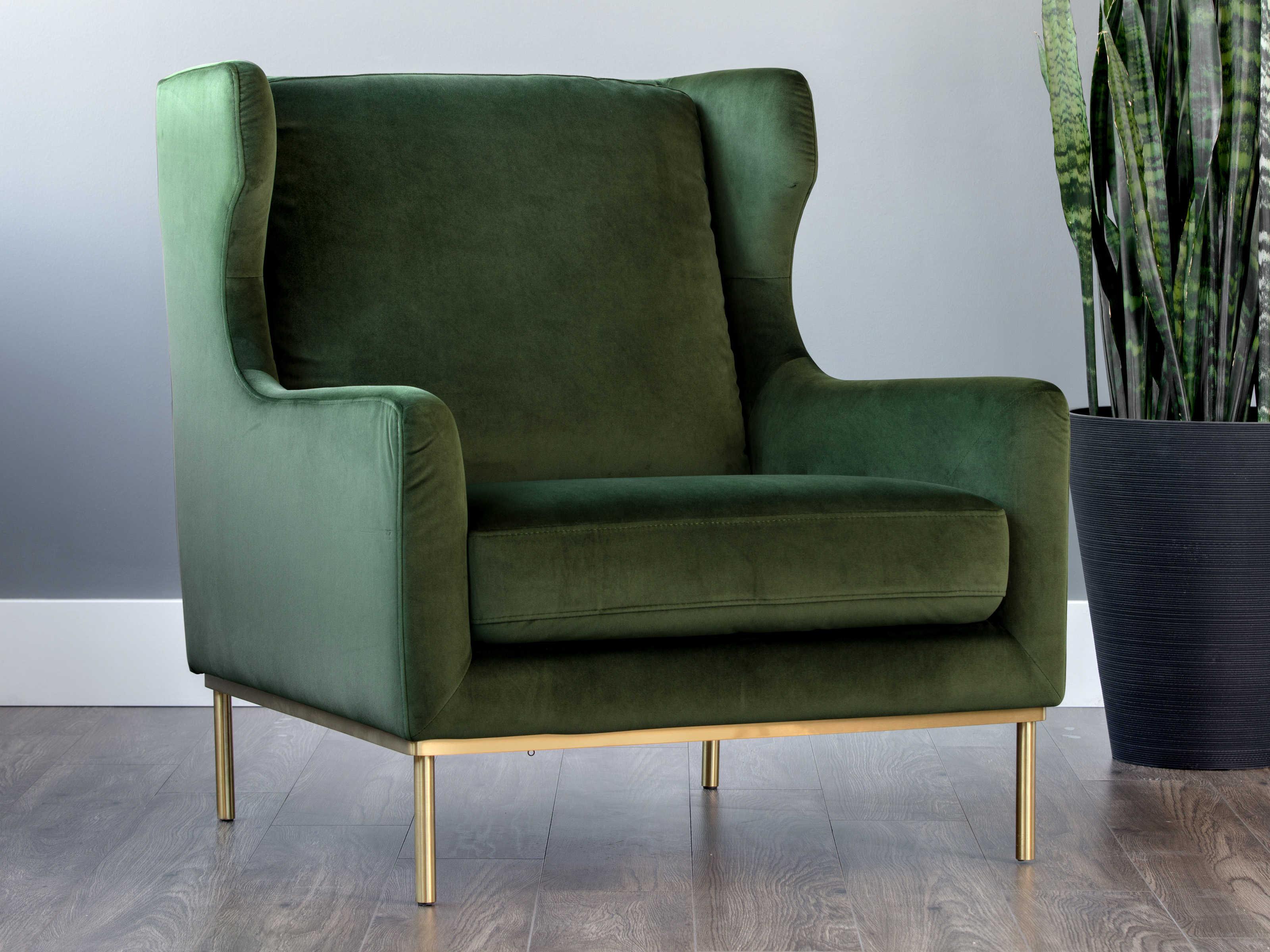 Picture of: Sunpan Modern Home 5west Moss Green Antique Brass Accent Chair Spn103678