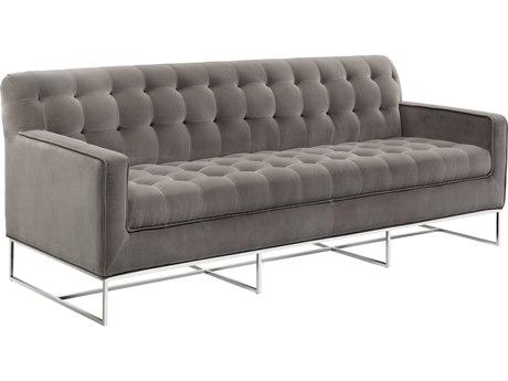 Sunpan Alexandria Polished Stainless Steel Giotto Grey / Sofa Couch
