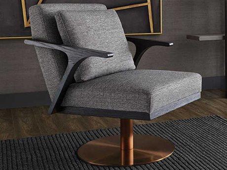 Sunpan Alisa Antique Brass Swivel Accent Chair SPN102565