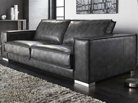 Sunpan Baretto Polished Stainless Steel Nobility Grey / Sofa Couch