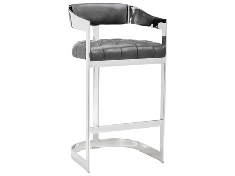 Sunpan Beaumont Polished Stainless Steel Nobility Grey / Arm Bar Height Stool