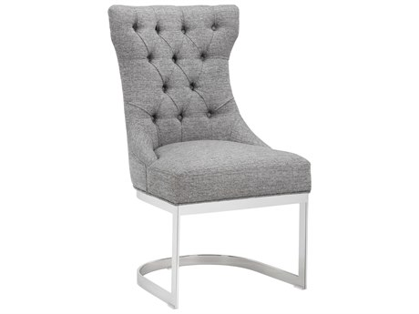 Sunpan Bleecker Polished Stainless Steel Milestone Grey / Side Dining Chair SPN101306